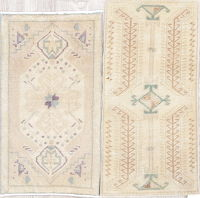 Pack Of Two Vegetable Dye Muted Brown Oushak Turkish Rug 1x3