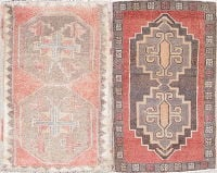 Pack Of Two Geometric Oushak Turkish Handmade Rug Wool 2x3