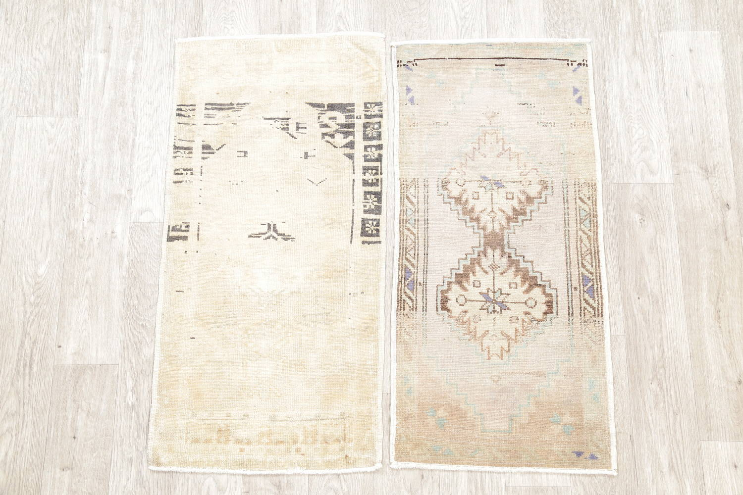 Pack Of Two Geometric Oushak Hand-Knotted Rug Wool 2x3 image 2
