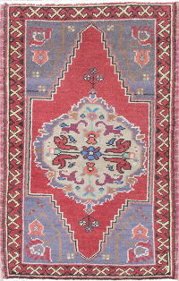 Geometric Red Oushak Turkish Hand-Knotted Rug Wool 2x3