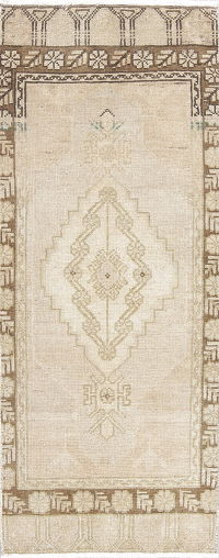 Geometric Oushak Turkish Hand-Knotted Rug Wool 1x3