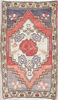 Geometric Anatolian Turkish Hand-Knotted Rug Wool 2x3