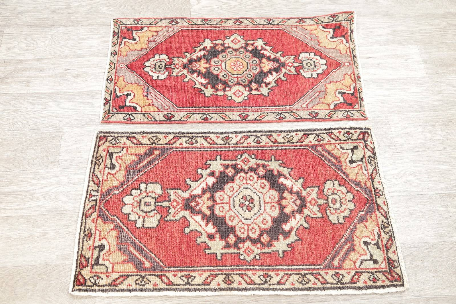 Pack Of Two Antique Anatolian Turkish Hand-Knotted Rug Wool 2x3