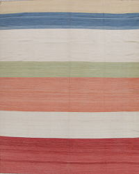 Stripe Kilim Turkish Oriental Hand-Woven Area Rug Wool 10x13