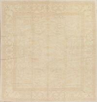Vegetable Dye Muted Oushak Turkish Hand-Knotted Square 11x11 Area Rug