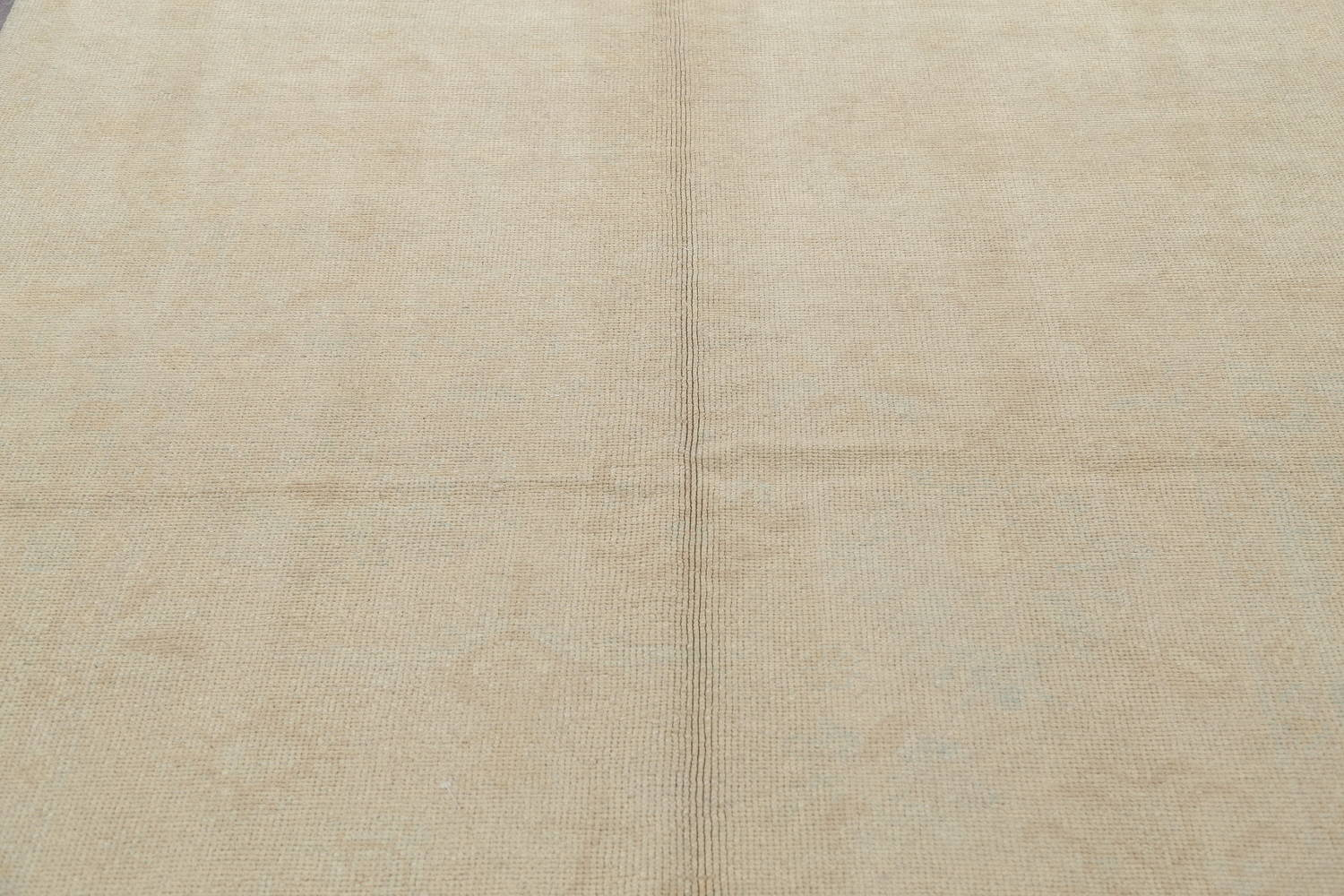 Vegetable Dye Muted Gold Oushak Turkish Hand-Knotted Runner Rug 6x15 image 10
