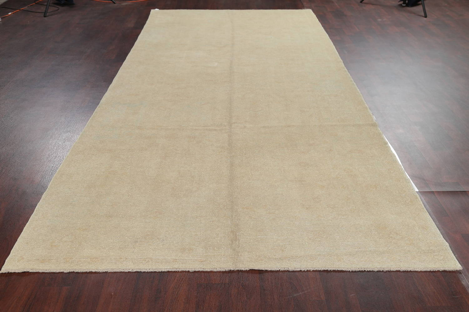 Vegetable Dye Muted Gold Oushak Turkish Hand-Knotted Runner Rug 6x15 image 13