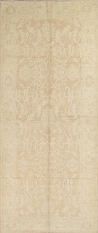 Vegetable Dye Muted Gold Oushak Turkish Hand-Knotted Runner Rug 7x16