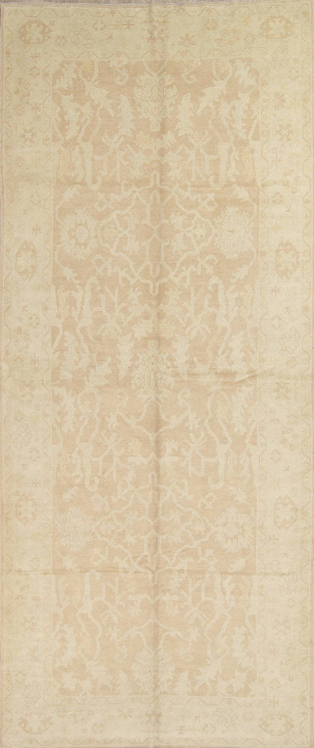 Vegetable Dye Muted Gold Oushak Turkish Hand-Knotted Runner Rug 7x16 image 1