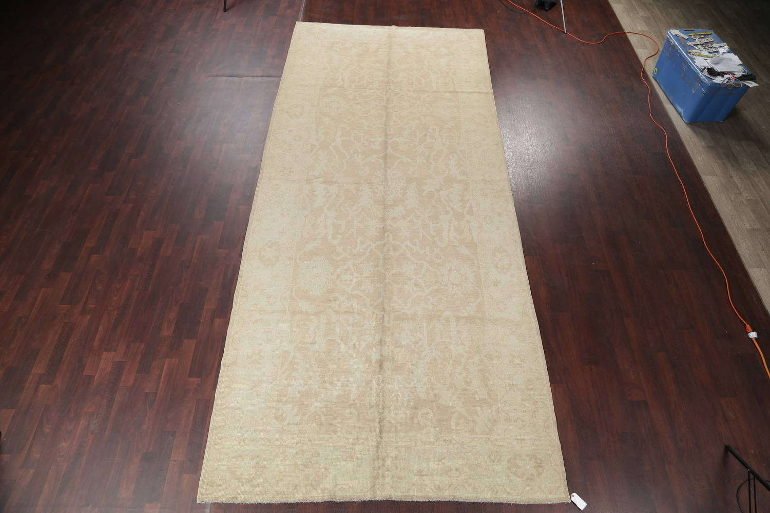 Vegetable Dye Muted Gold Oushak Turkish Hand-Knotted Runner Rug 7x16 image 2