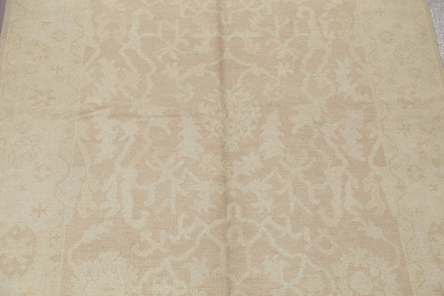 Vegetable Dye Muted Gold Oushak Turkish Hand-Knotted Runner Rug 7x16 image 4