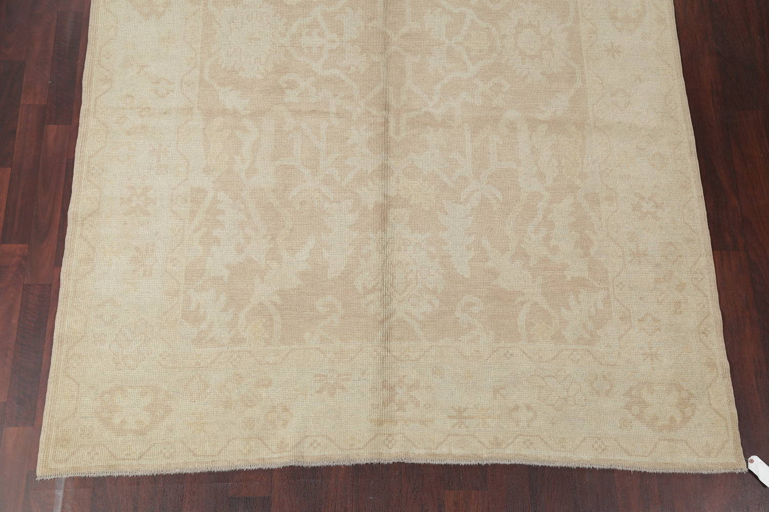 Vegetable Dye Muted Gold Oushak Turkish Hand-Knotted Runner Rug 7x16 image 5