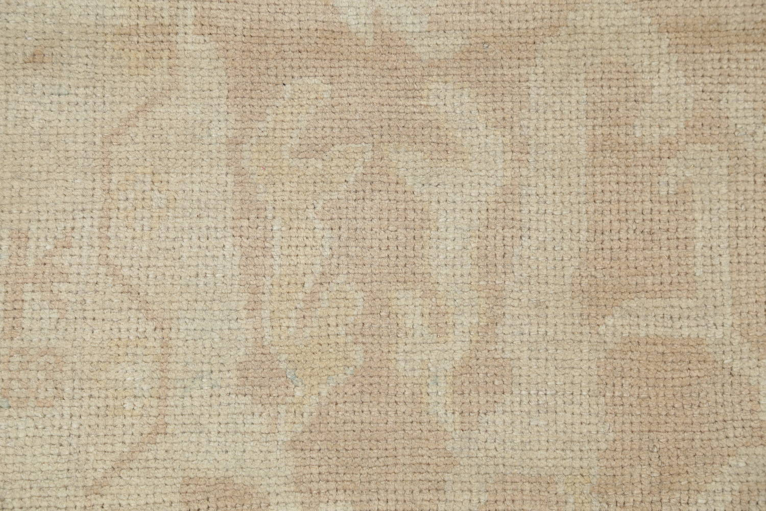 Vegetable Dye Muted Gold Oushak Turkish Hand-Knotted Runner Rug 7x16 image 7