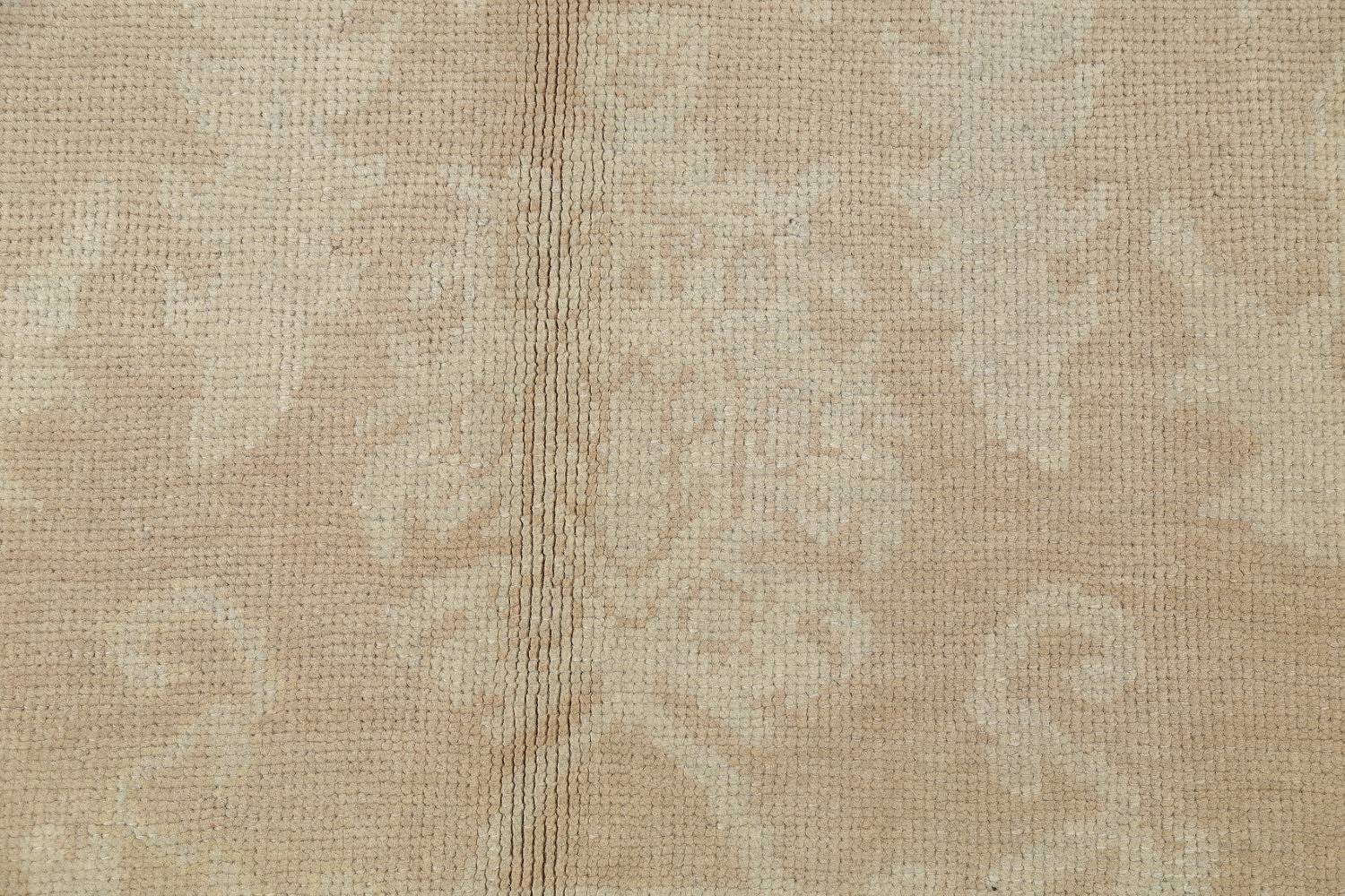 Vegetable Dye Muted Gold Oushak Turkish Hand-Knotted Runner Rug 7x16 image 8