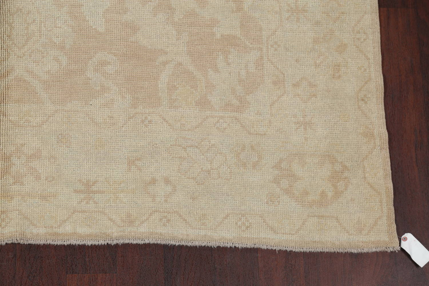 Vegetable Dye Muted Gold Oushak Turkish Hand-Knotted Runner Rug 7x16 image 6