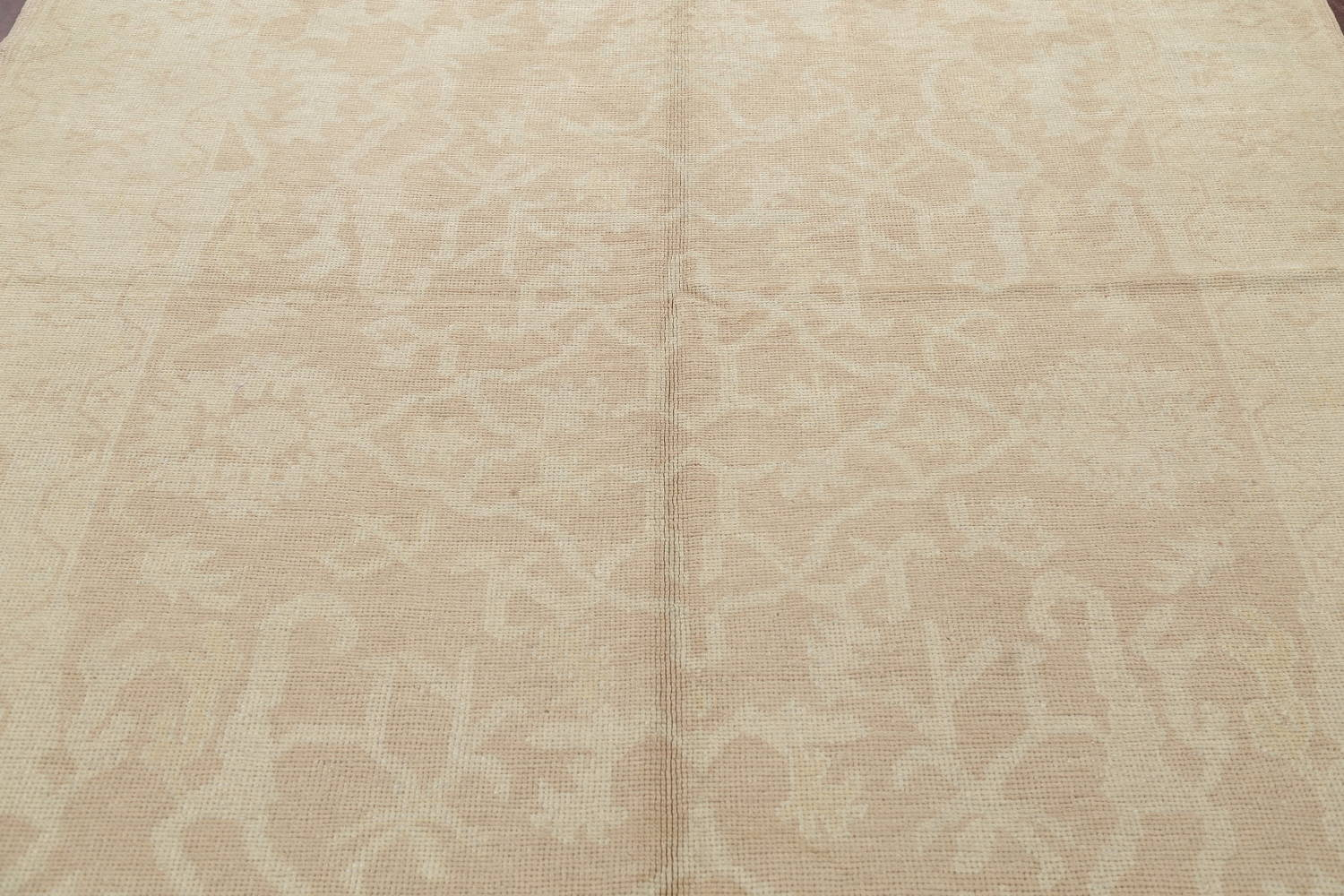 Vegetable Dye Muted Gold Oushak Turkish Hand-Knotted Runner Rug 7x16 image 11