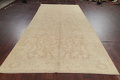 Vegetable Dye Muted Gold Oushak Turkish Hand-Knotted Runner Rug 7x16 image 14