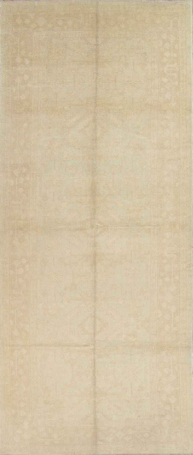 Vegetable Dye Muted Pale Blue Oushak Turkish Hand-Knotted Runner Rug 7x17 image 1