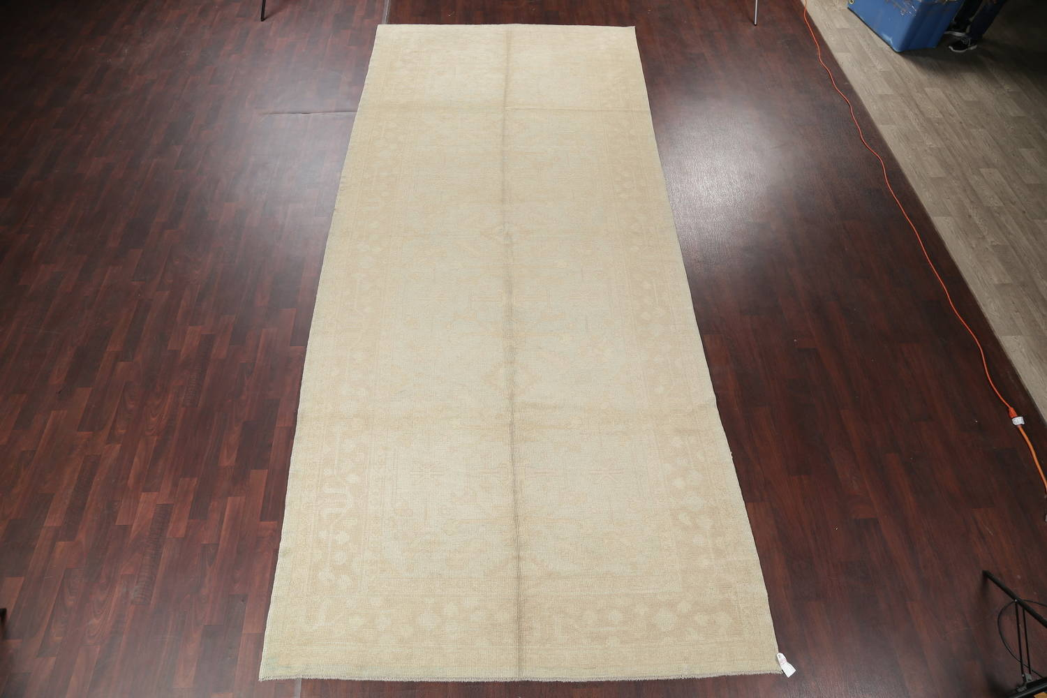 Vegetable Dye Muted Pale Blue Oushak Turkish Hand-Knotted Runner Rug 7x17 image 2