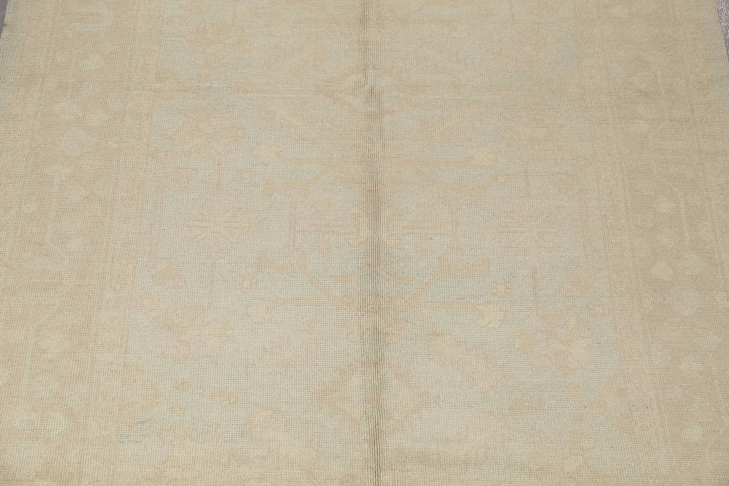 Vegetable Dye Muted Pale Blue Oushak Turkish Hand-Knotted Runner Rug 7x17 image 4
