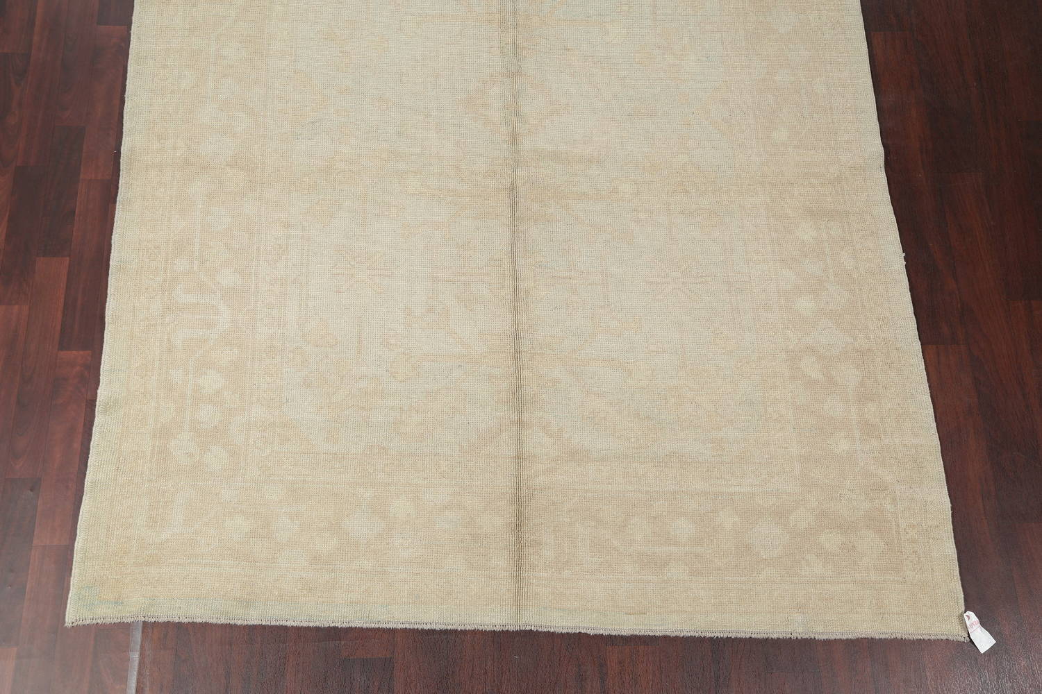 Vegetable Dye Muted Pale Blue Oushak Turkish Hand-Knotted Runner Rug 7x17 image 5