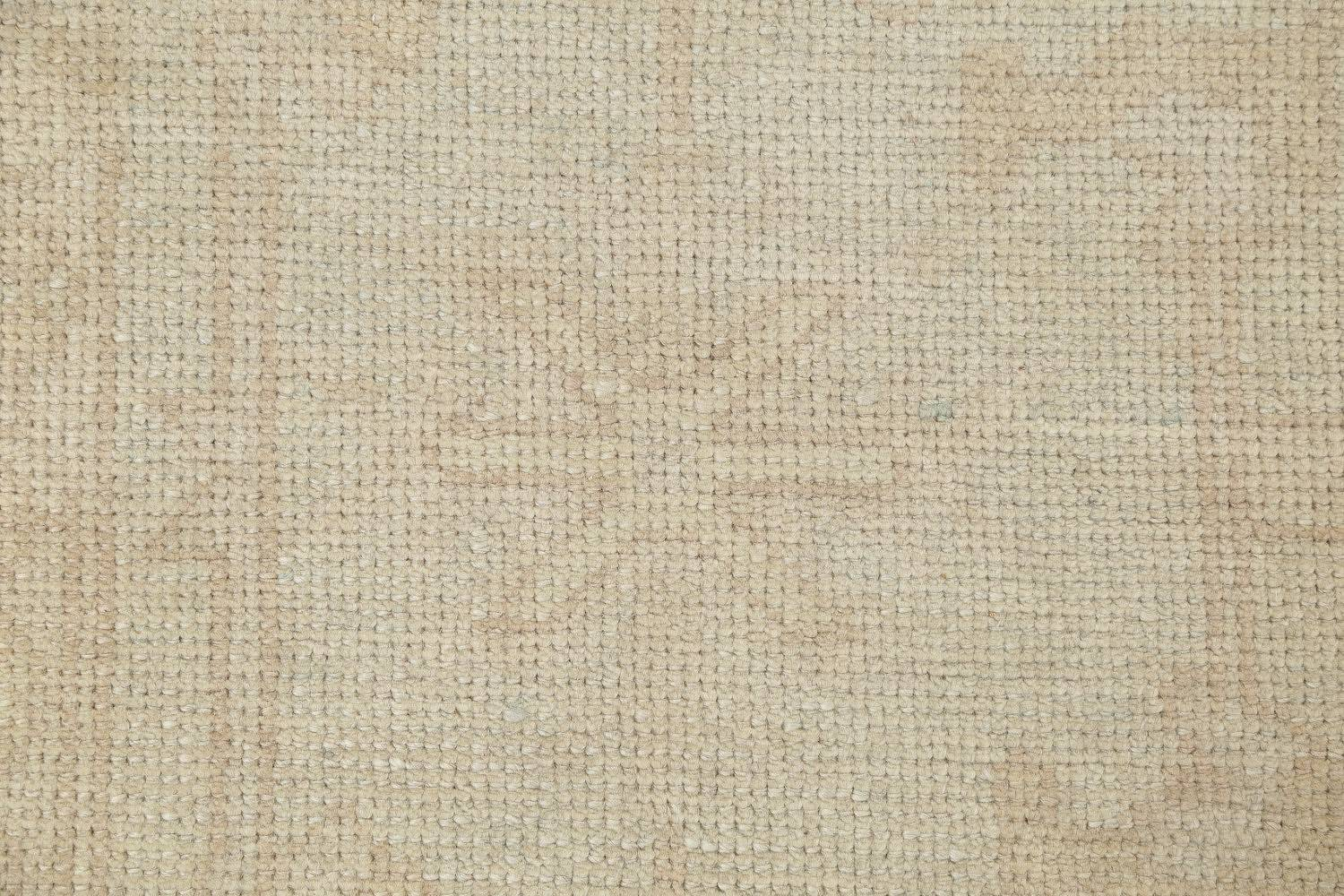 Vegetable Dye Muted Pale Blue Oushak Turkish Hand-Knotted Runner Rug 7x17 image 7