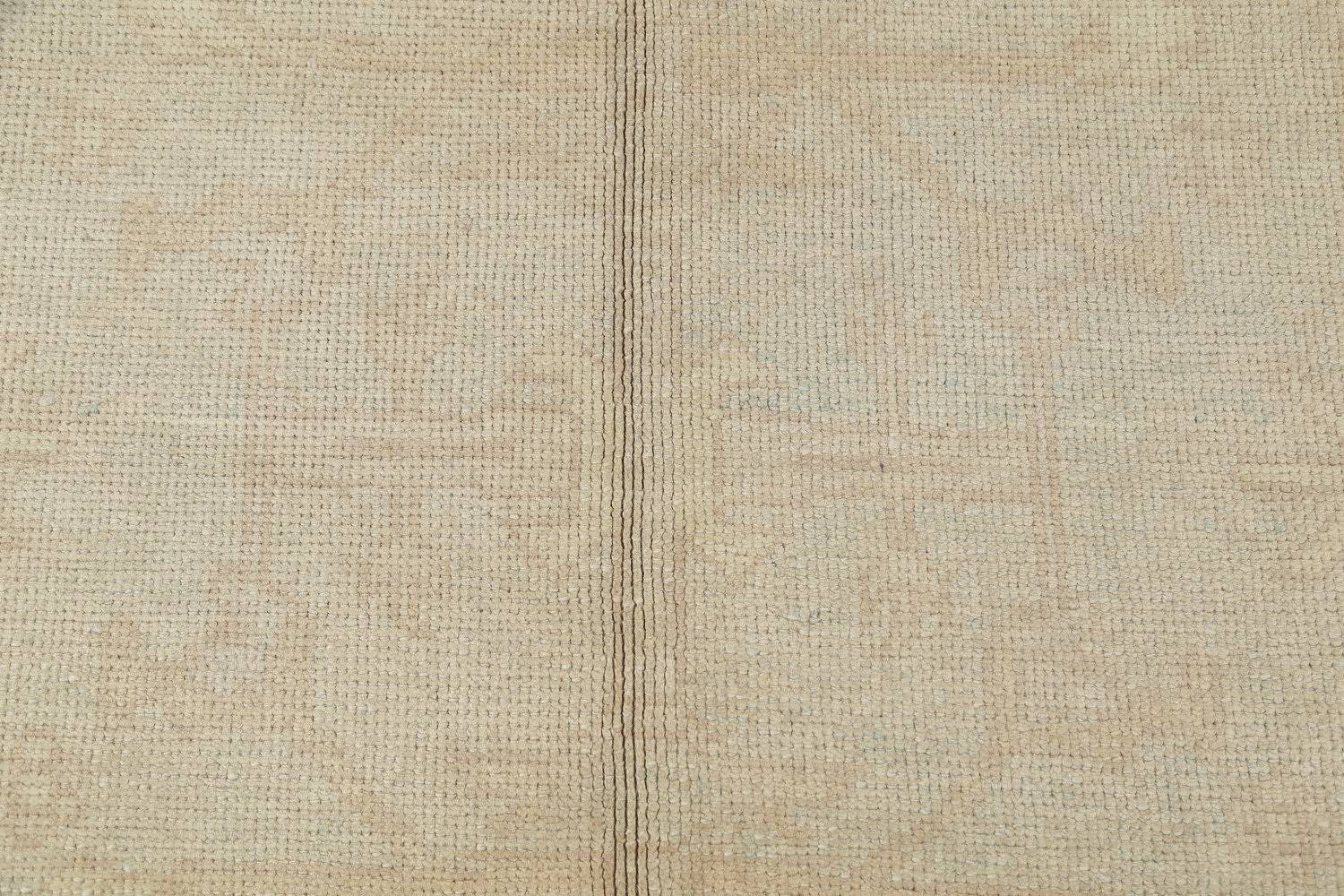 Vegetable Dye Muted Pale Blue Oushak Turkish Hand-Knotted Runner Rug 7x17 image 8