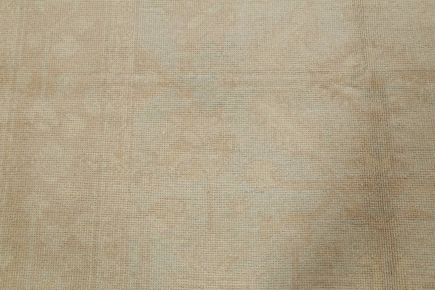 Vegetable Dye Muted Pale Blue Oushak Turkish Hand-Knotted Runner Rug 7x17 image 10