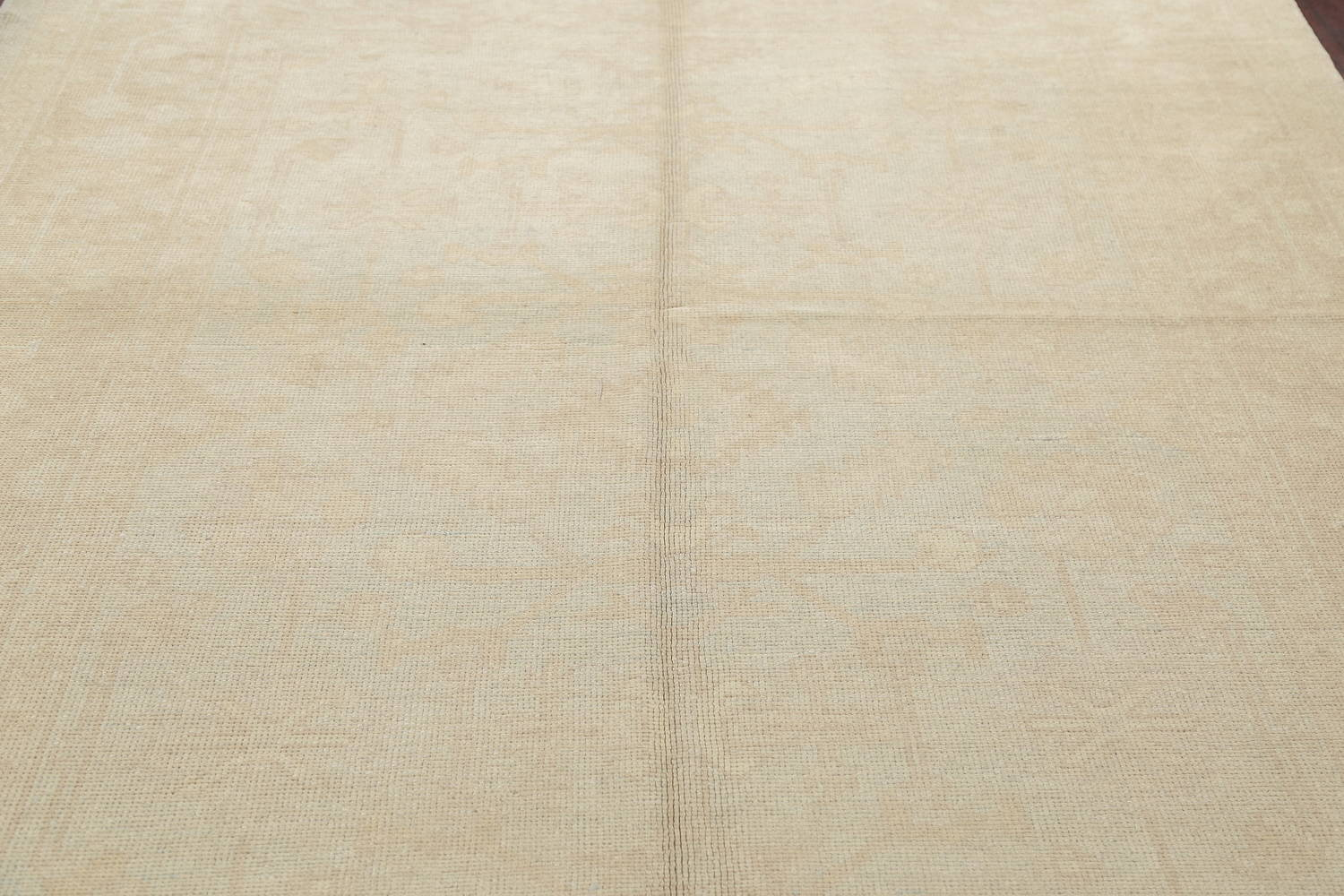 Vegetable Dye Muted Pale Blue Oushak Turkish Hand-Knotted Runner Rug 7x17 image 11