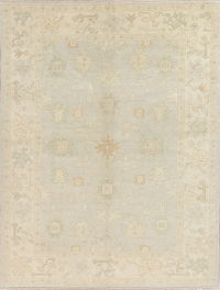 Vegetable Dye Muted Pale Blue Oushak Turkish Hand-Knotted Area Rug 7x9