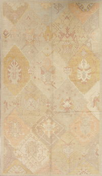 Vegetable Dye Muted Oushak Turkish Hand-Knotted Area Rug Wool 7x12