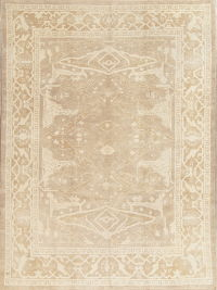 Vegetable Dye Muted Color  Oushak Turkish Hand-Knotted Area Rug Wool 8x11