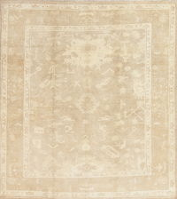 Vegetable Dye Muted Gold Oushak Turkish Square Rug Wool 9x9