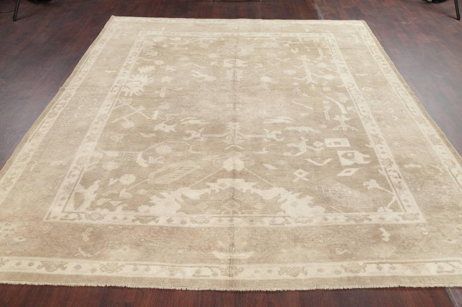 Vegetable Dye Muted Beige Oushak Turkish Hand Knotted 8x10