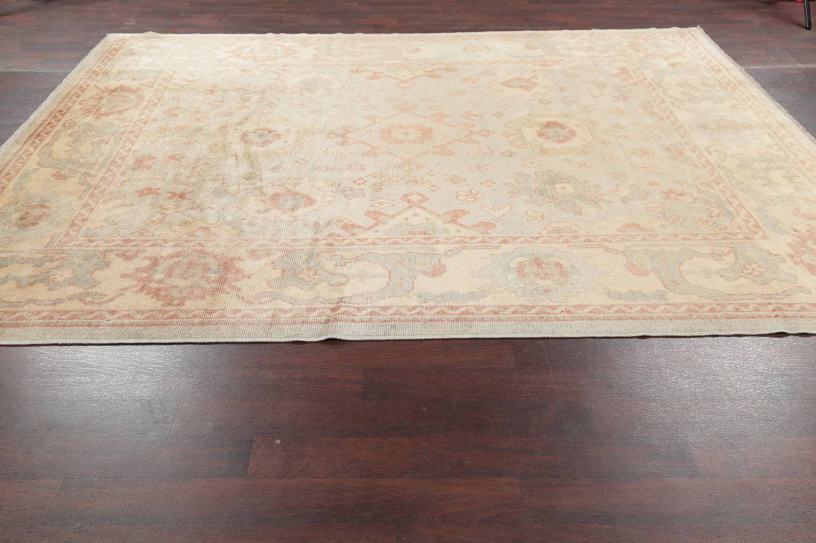 Vegetable Dye Muted Green Oushak Turkish Area Rug Wool 9x10