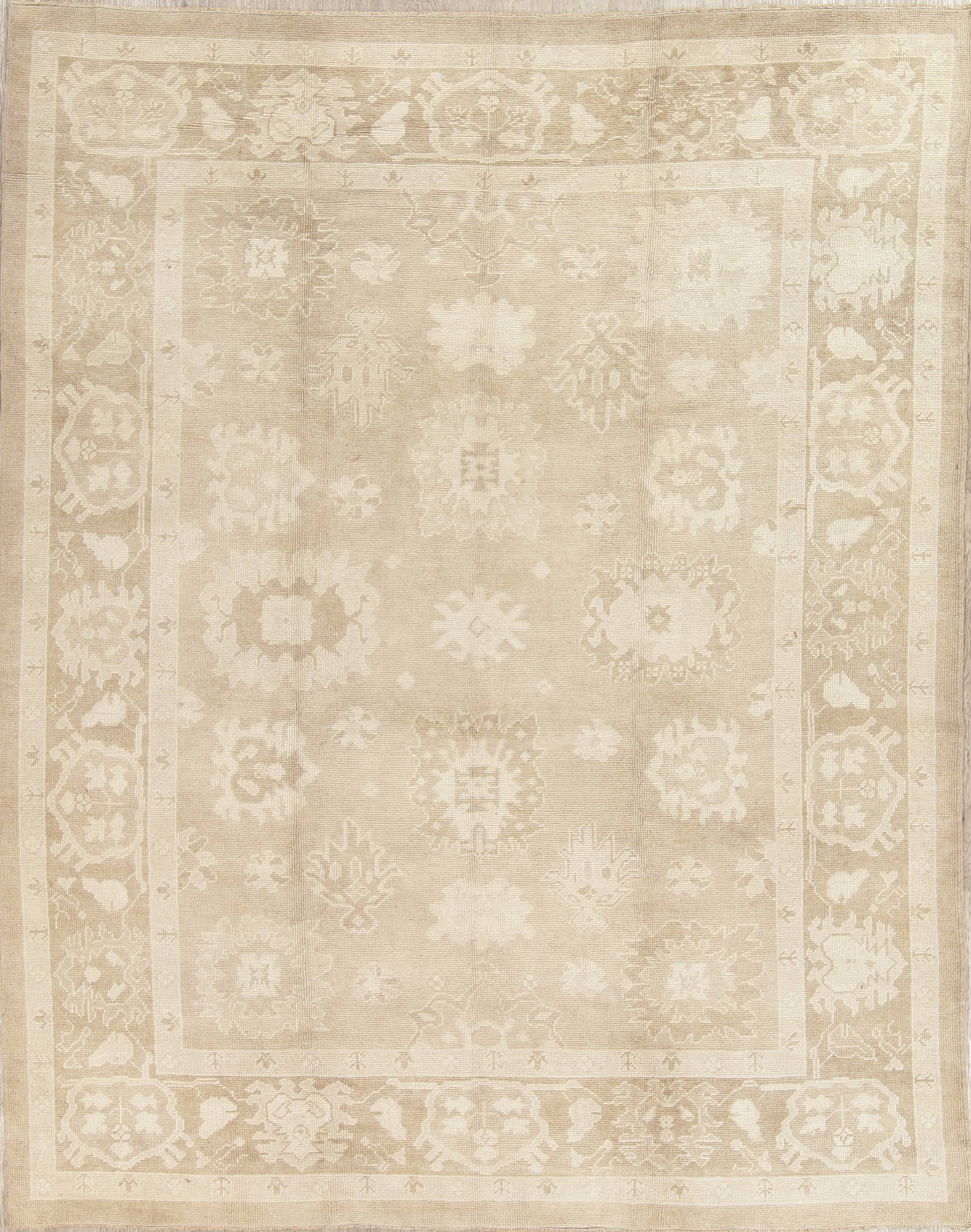 Vegetable Dye One-Of-a-Kind Oushak Turkish Hand-Knotted 8x10 Area Rug