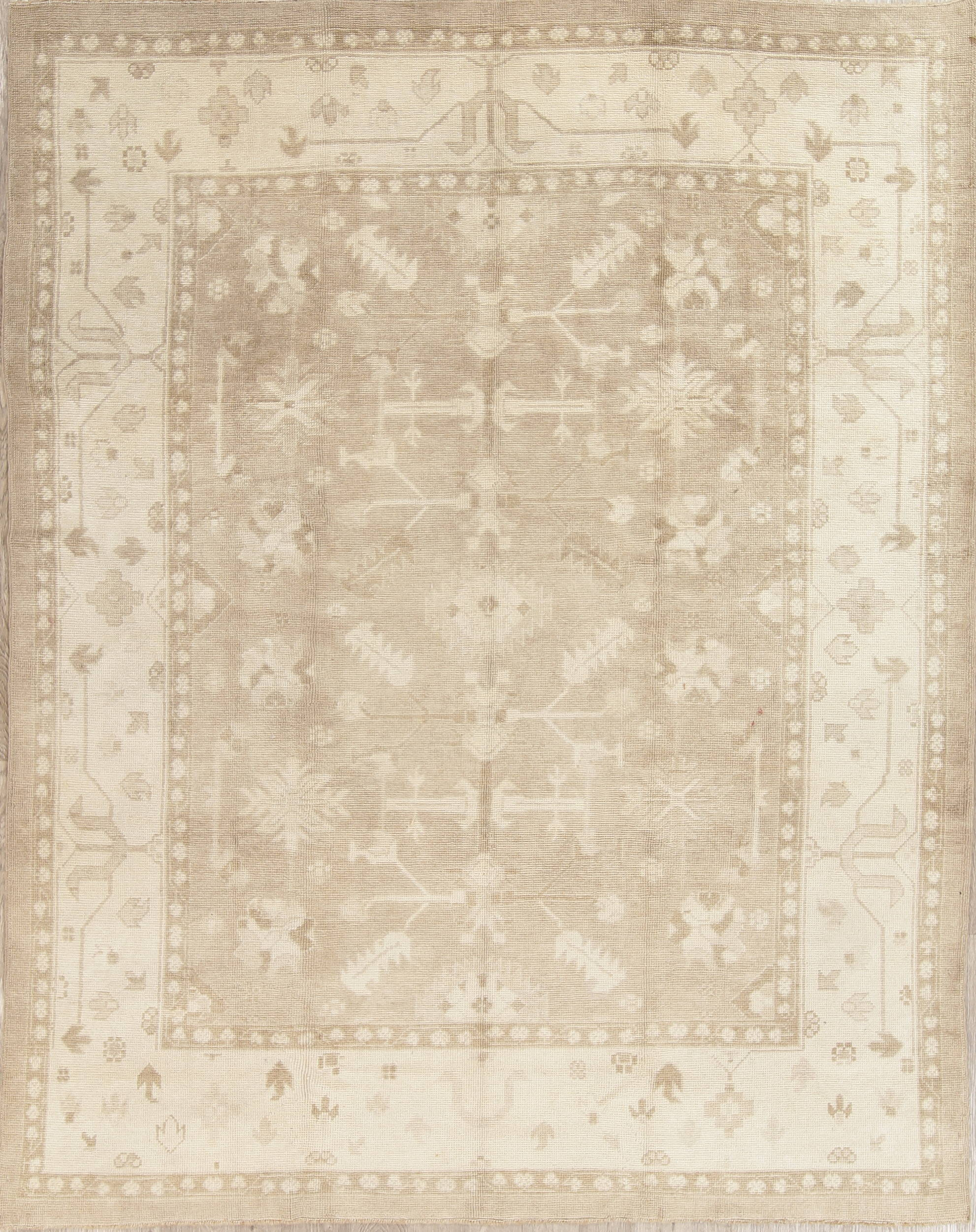 Vegetable Dye Muted Silver Grey Oushak Turkish Hand-Knotted 8x11 Area Rug