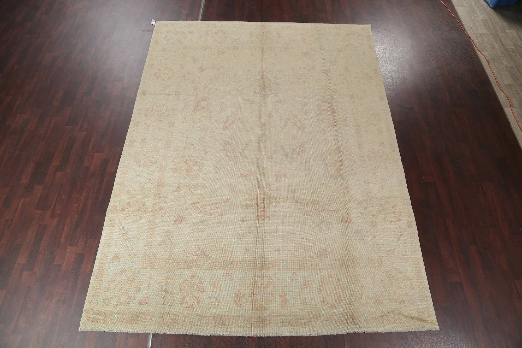 Vegetable Dye Muted Ivory Oushak Turkish Area Rug Wool 9x13