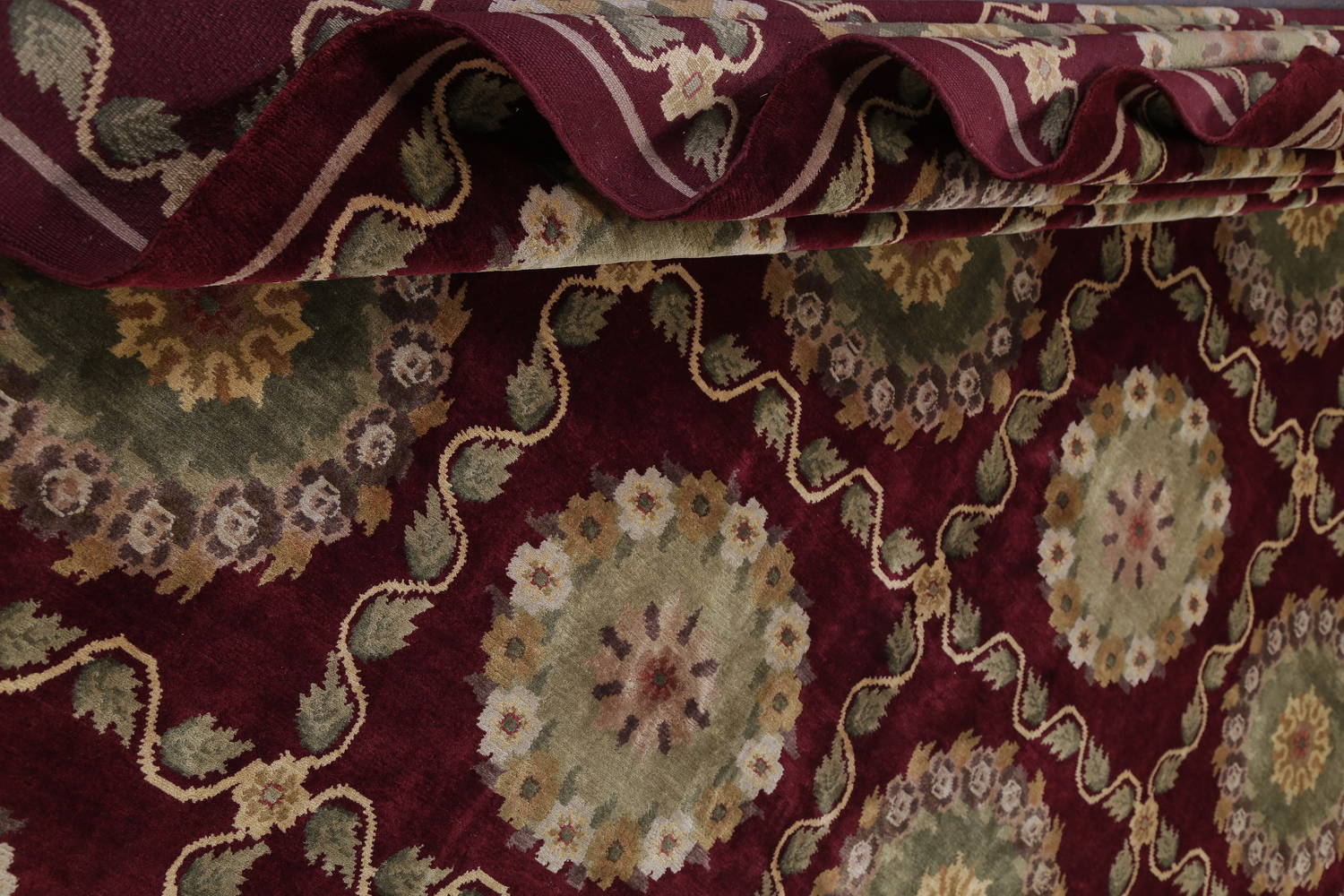 Geometric Red Aubusson Kathmando Oriental Hand-Knotted Area Rug 10x15 image 15