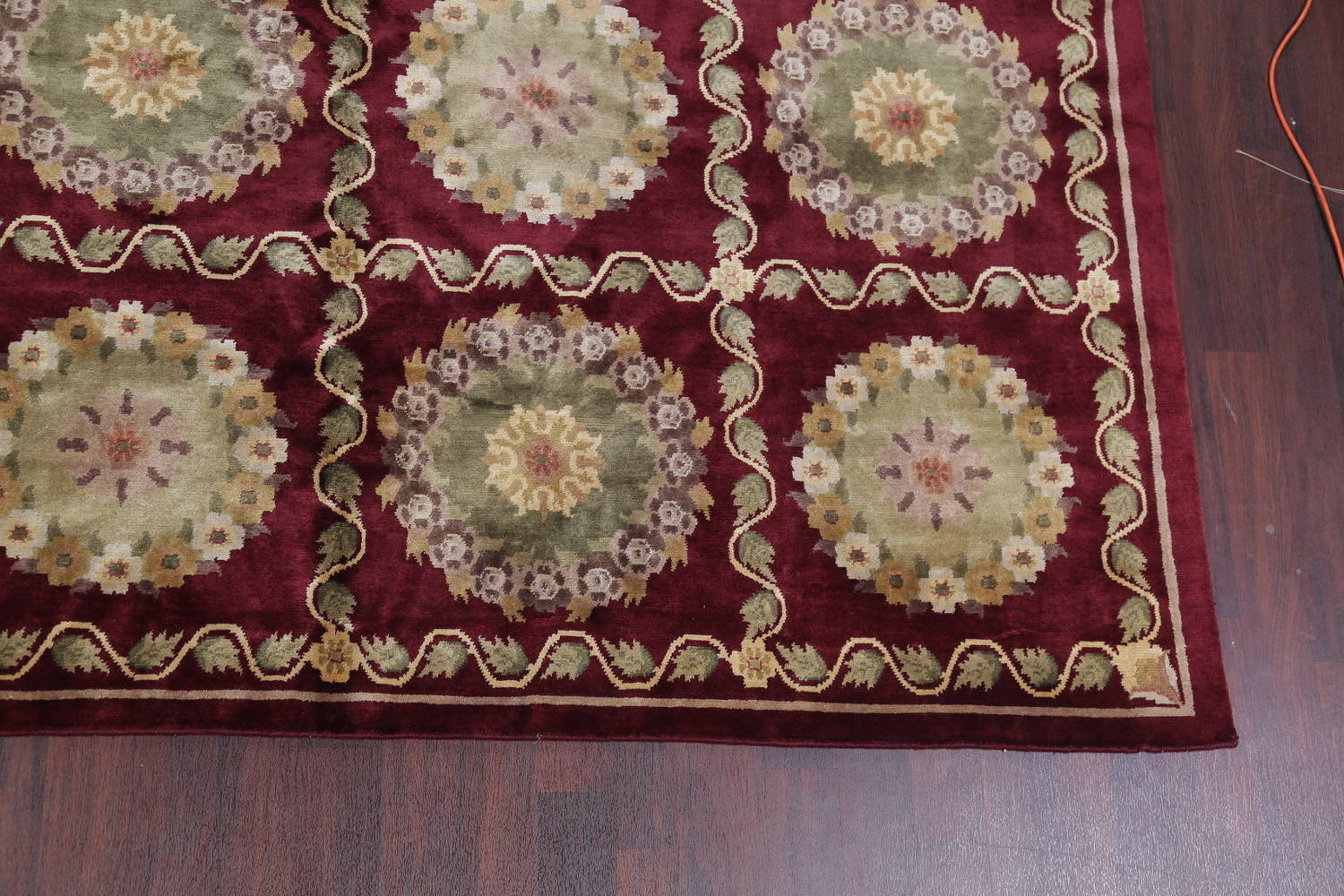 Geometric Red Aubusson Kathmando Oriental Hand-Knotted Area Rug 10x15 image 6