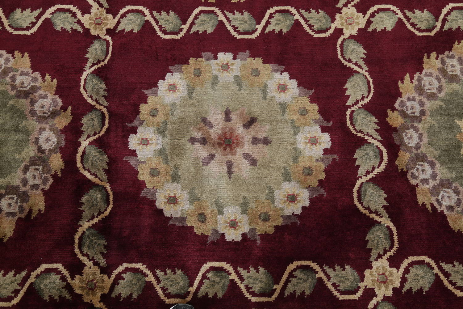 Geometric Red Aubusson Kathmando Oriental Hand-Knotted Area Rug 10x15 image 8