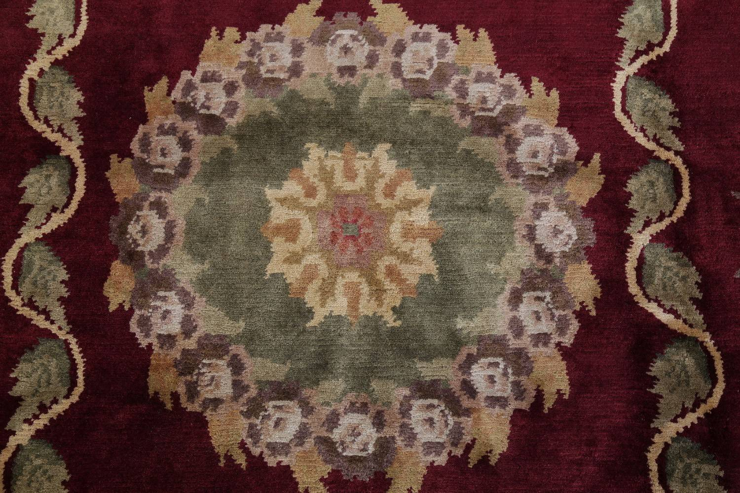 Geometric Red Aubusson Kathmando Oriental Hand-Knotted Area Rug 10x15 image 9