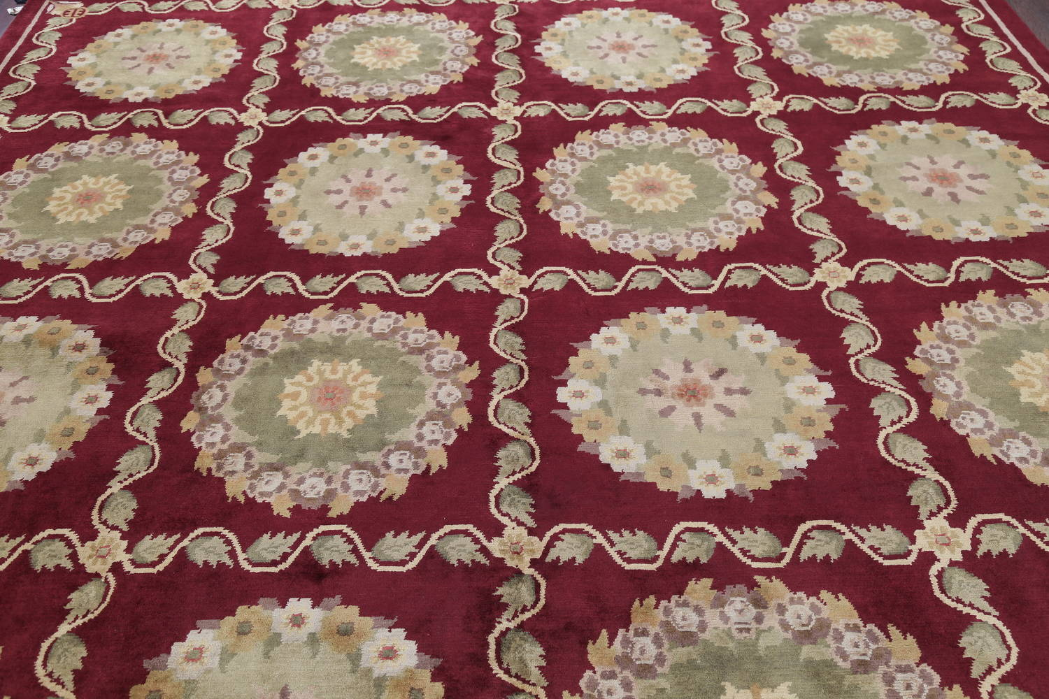 Geometric Red Aubusson Kathmando Oriental Hand-Knotted Area Rug 10x15 image 10
