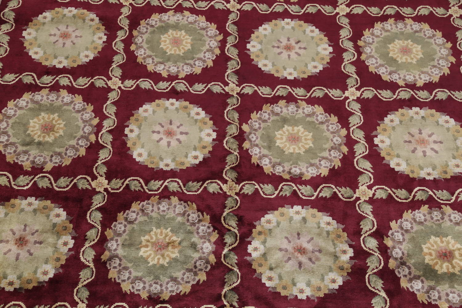 Geometric Red Aubusson Kathmando Oriental Hand-Knotted Area Rug 10x15 image 4