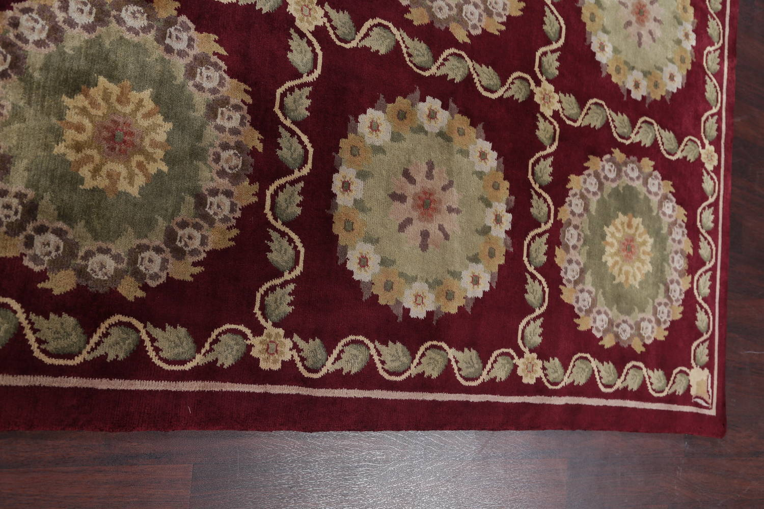 Geometric Red Aubusson Kathmando Oriental Hand-Knotted Area Rug 10x15 image 11