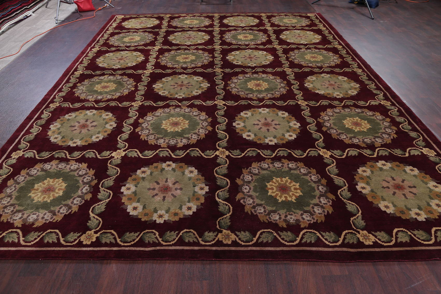 Geometric Red Aubusson Kathmando Oriental Hand-Knotted Area Rug 10x15