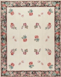 Floral Ivory Kilim Chinese Needle-Point Hand-Woven Area Rug 8x10