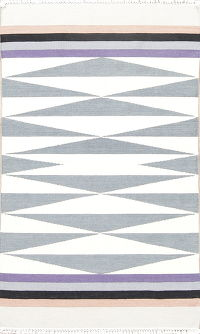 Geometric Ivory Kilim Turkish Hand-Woven Rug Wool 3x5