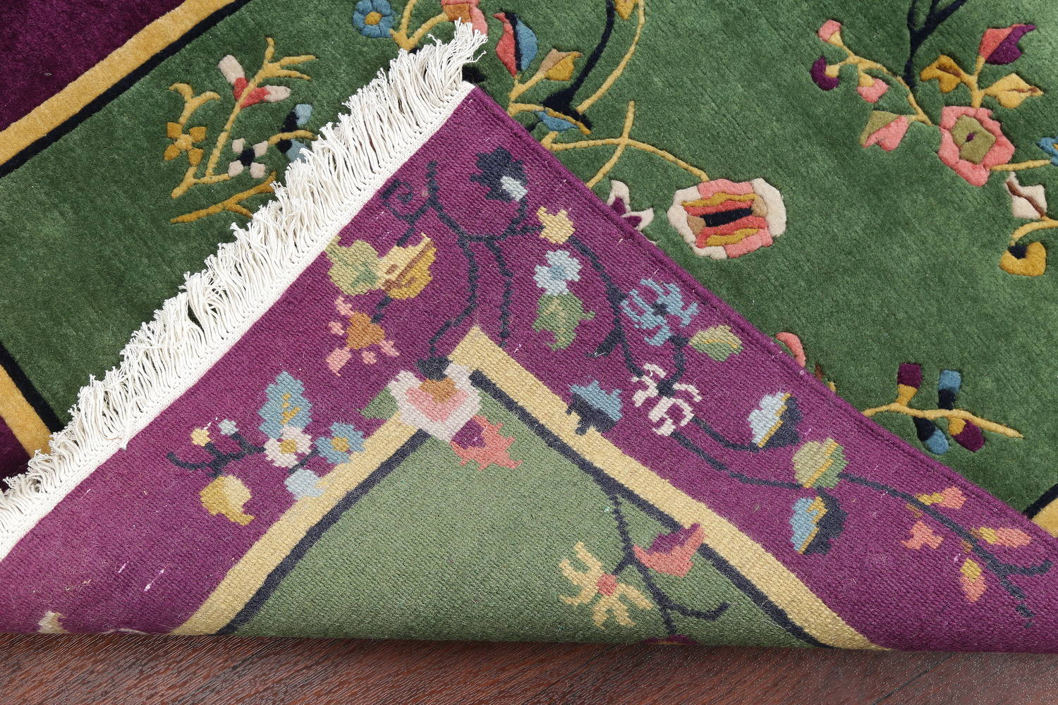 Floral Green Art Deco Chinese Oriental Area Rug Wool 3x5