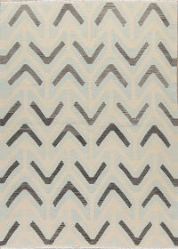 Geometric Ivory  Kilim Turkish Hand-Woven Area Rug Wool 6x8